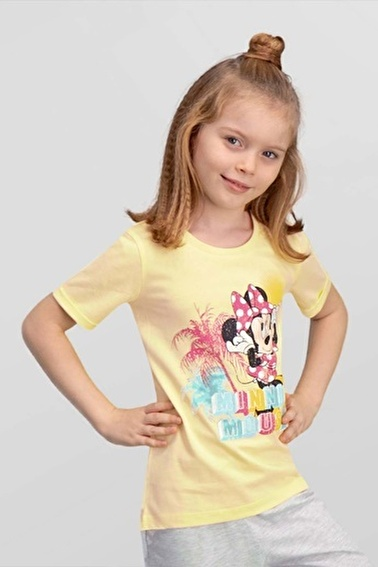 Mickey Mouse Mickey & Minnie Mouse Lisanslı Mavi Kız Çocuk T-Shirt Sarı